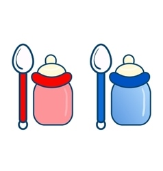 Two bottles with spoon vector
