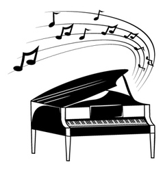 Piano and music notes vector