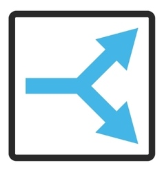 Bifurcation arrow right framed icon vector