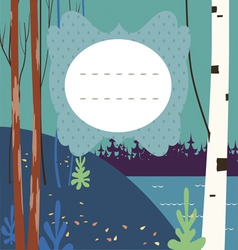 Card with autumn forest vector