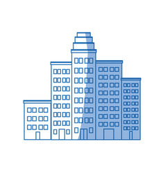 Cartoon cityscape cartoon row of various buildings vector