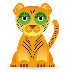 Cartoon of a tiger on a white background vector