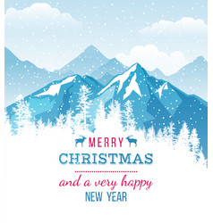 christmas and new year card with landscape vector image vector image