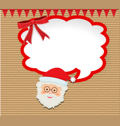 christmas card with santa and red flags vector image