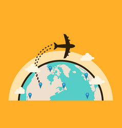Collection travel background with airplane vector