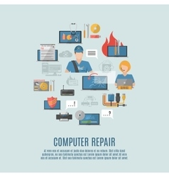 Computer repair flat icons composition poster vector image