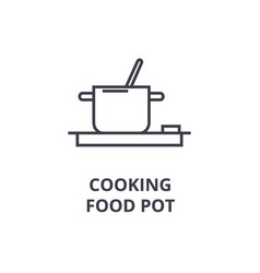 cooking food pot line icon outline sign linear vector image