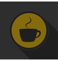 dark gray and yellow icon - cup with smoke vector image