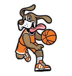 dog basketball mascot vector image vector image