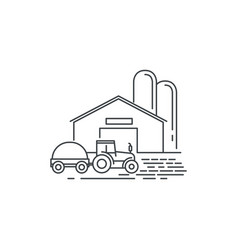 Farm barn and tractor line icon outline vector