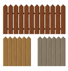 Fence with different wooden texture pattern vector