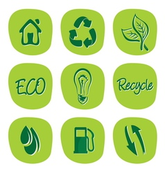 Green environment and recycle icons vector image vector image