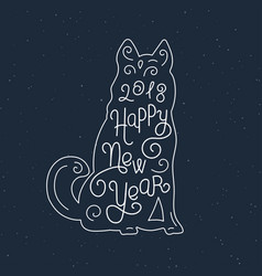 Happy new year silhouette hand lettering chinese vector