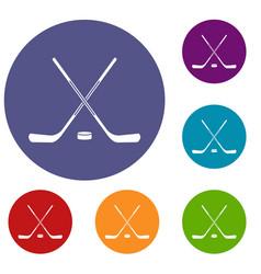 Ice hockey sticks icons set vector