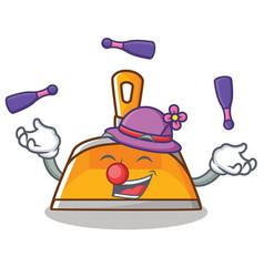 Juggling dustpan character cartoon style vector