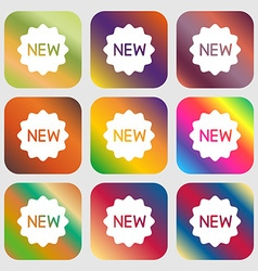 New icon sign nine buttons with bright gradients vector