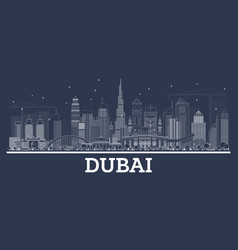Outline dubai uae skyline with modern architecture vector