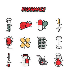 Pharmacy cartoon concept icons vector