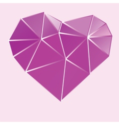 Purple bright low poly heart vector
