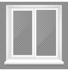 Realistic Closed Middle Open Plastic Window on vector image