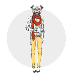 Retro hipster animal girl dog with photo camera vector