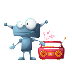robot listens to music vector image