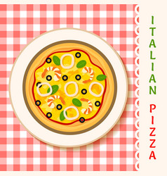 seafruit pizza vector image vector image