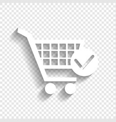 Shopping cart with check mark sign white vector