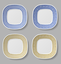 Squared ornamental plates vector