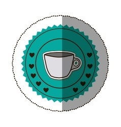 Sticker color round frame with porcelain mug and vector