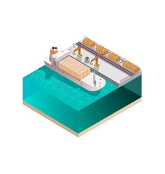 Stowing ship isometric composition vector