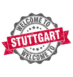Stuttgart round ribbon seal vector