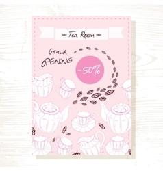 Tea room sale flyer template with tea service in vector