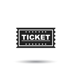 ticket icon flat ticket sign symbol with shadow vector image