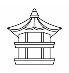 Traditional korean pagoda icon outline style vector