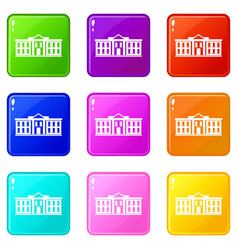 White house usa icons 9 set vector