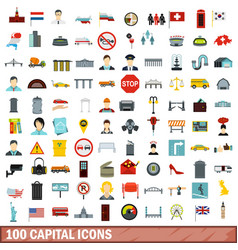 100 capital icons set flat style vector image vector image