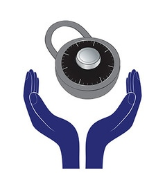 Human hands encourage padlock as save privacy vector