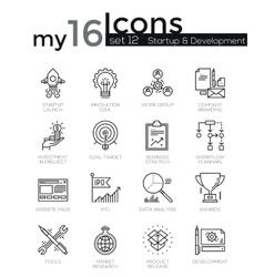 Modern thin line icons set of startup business and vector image