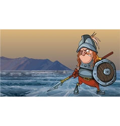 cartoon medieval soldier in armor is on a frozen vector image