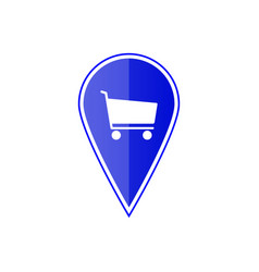 Blue map pointer with shopping cart vector