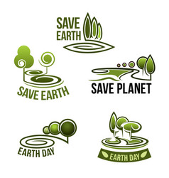 Icons for earth nature ecology environment vector