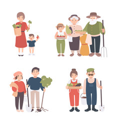Set of village people different young adult old vector