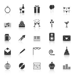 Celebration icons with reflect on white background vector