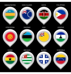 Map marker with flag-set sixteen vector