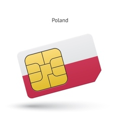 Poland mobile phone sim card with flag vector
