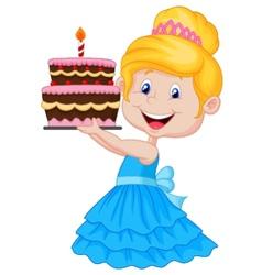 Little girl cartoon with birthday cake vector image