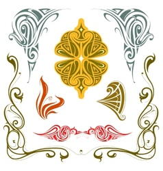 Art nouveau style design elements set vector image