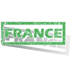 Green outlined france stamp vector