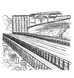 Hand drawn bridge vector